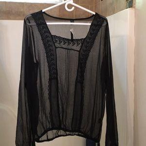 Juniors Sheer Black long sleeve shirt